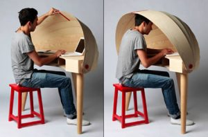 retractable hooded desk