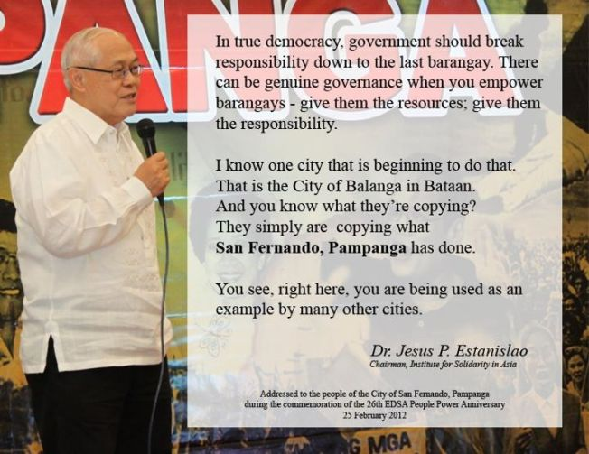 Dr. Jesus P. Estanislao's address during the commemoration of the 26th EDSA People Power at the City of San Fernando, Pampanga