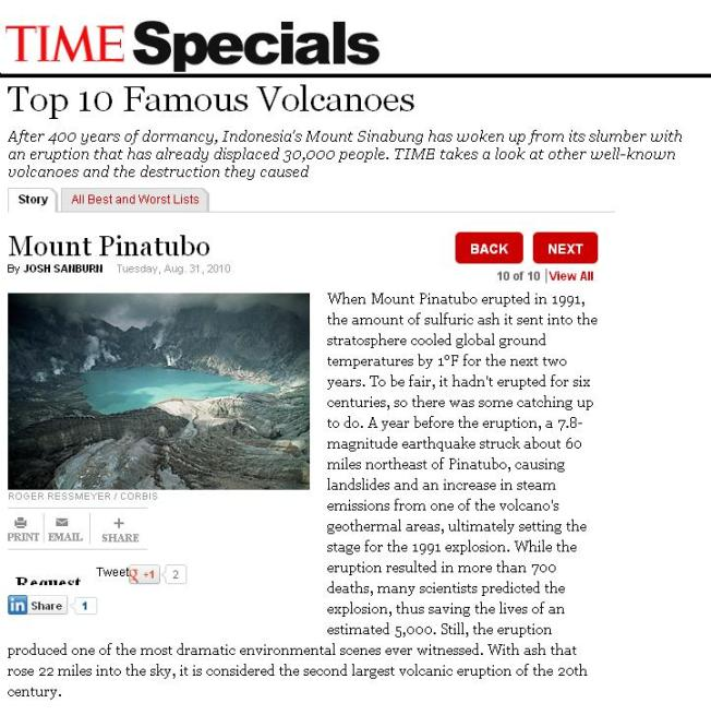 Mt Pinatubo on TIME magazine's top 10 most fiery volcanoes recorded in history